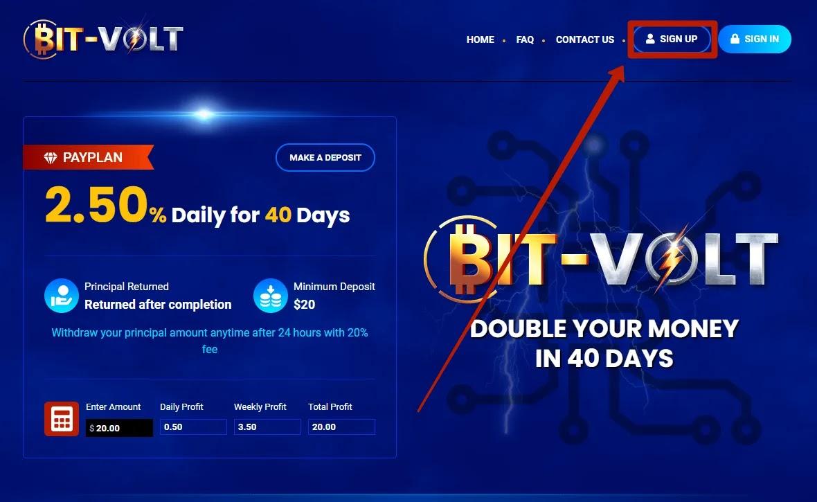 Регистрация в Bit-Volt