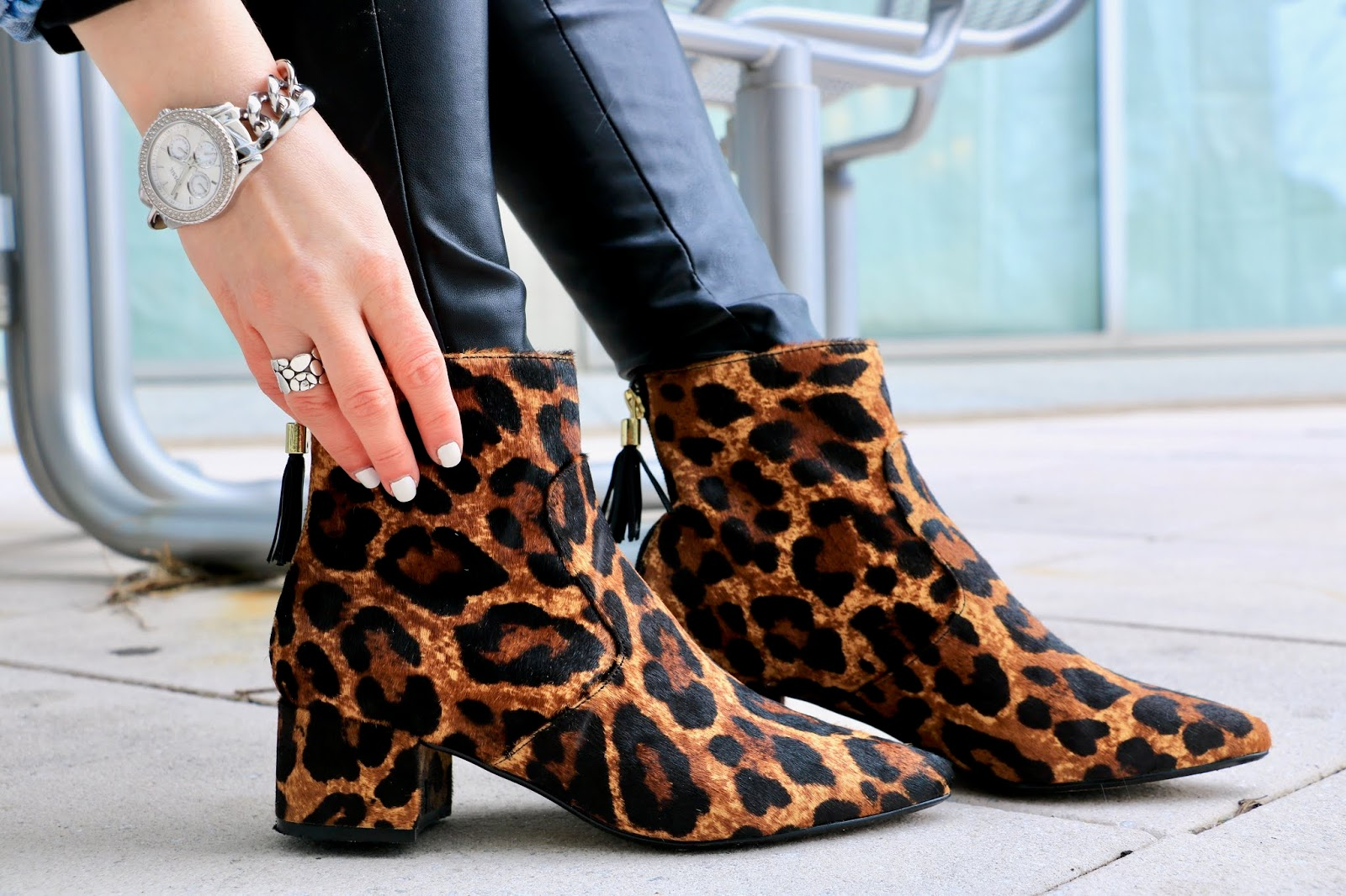 Nyc fashion blogger Kathleen Harper's Karl Lagerfeld leopard booties