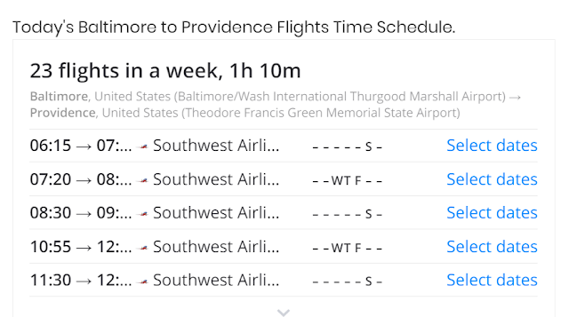 49 USD baltimore to providence flights time
