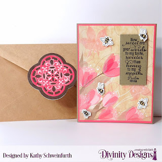 Stamp/Die Duos: Bee-Lieve Custom Dies:  A2 Portrait Card Base with Layer, Matting Rectangle, Pierced Rectangle Embossing Folder Die/Duo: Quatrefoil Paper Collection: Beautiful Blooms