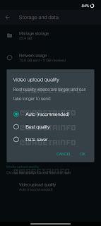 مشاركة الفيديوهات بدقة عالية واتساب