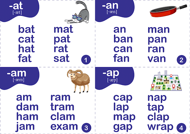 Short a sound words - printable flashcards for ESL students