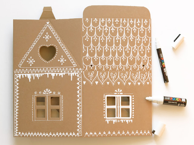 Bemale mit Markern Dein eigenes Lebkuchenhaus