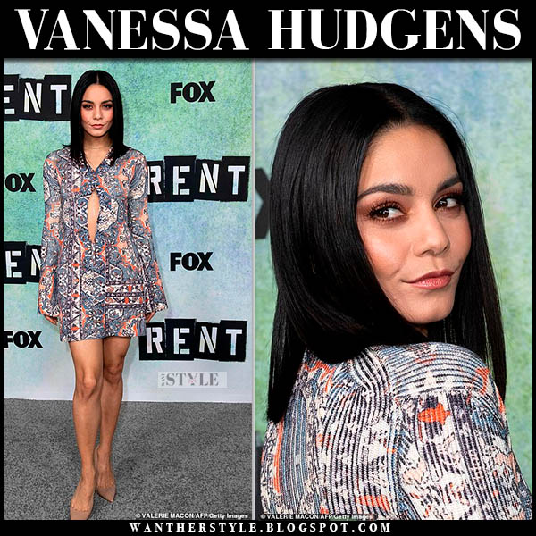 Vanessa Hudgens in printed chloe mini dress and beige suede brian atwood valerie pumps red capret style january 8