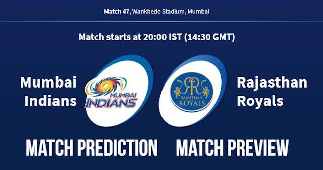 IPL 2018 Match 47 MI vs RR Match Prediction, Preview, Head to Head, Who Will Win