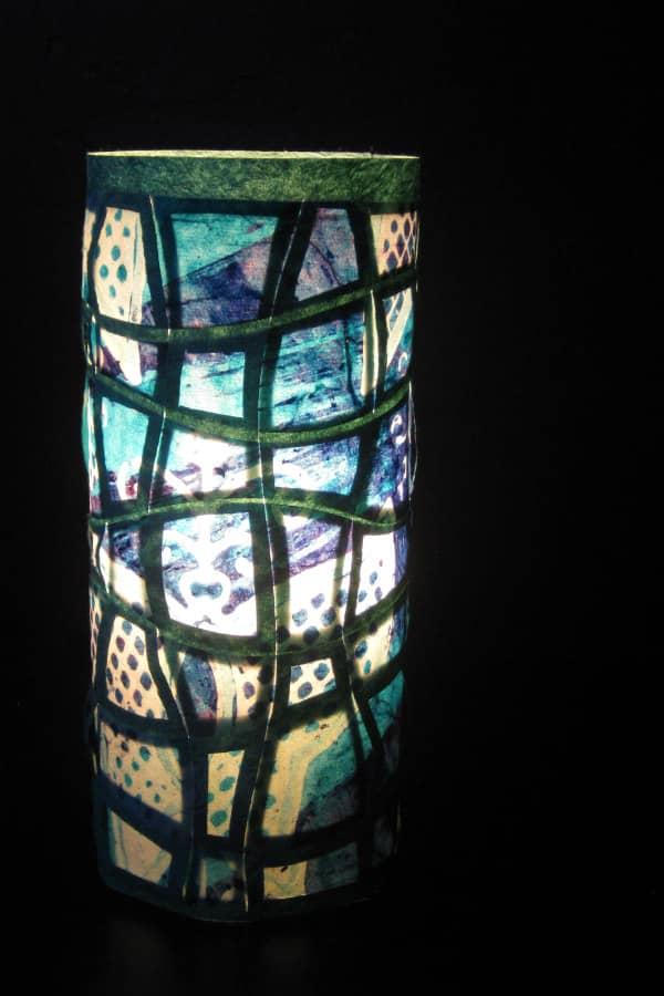lighted woven paper pillar lantern