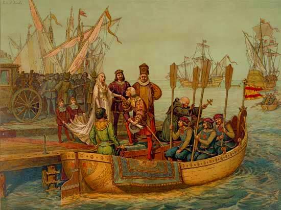 Pintura representando a Cristóbal Colón despedirse de la reina Isabel I