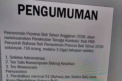 Perekrutan tenaga Kontrak non PNS untuk Penyuluh Bahasa Bali