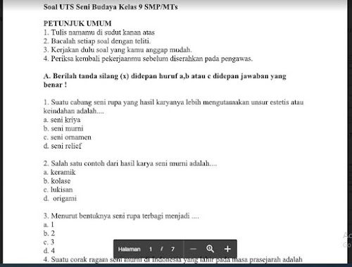 Soal PTS Seni Budaya (SBK) Kelas 9 Sem. Ganjil Kurikulum 2013