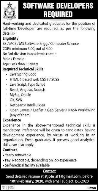 Pakistan Air Force Software Developers Jobs 2020