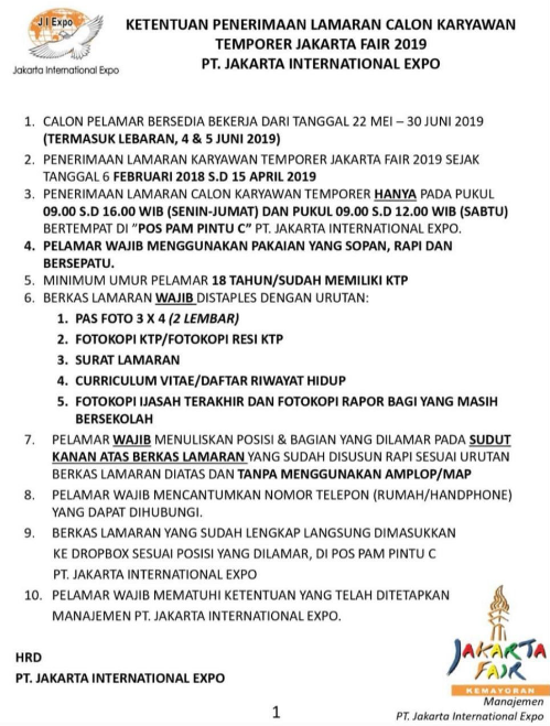 Lowongan Kerja PT Jakarta International Expo 2019