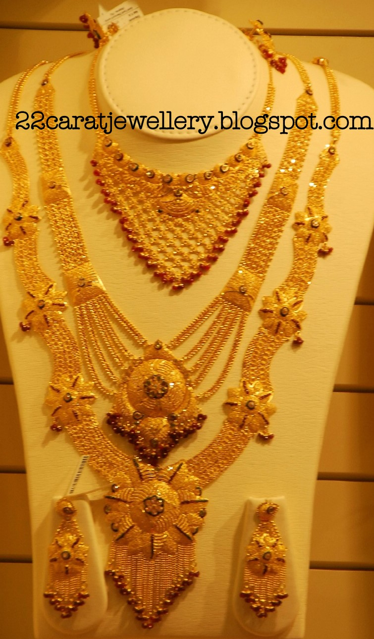 Kalyan Jewellers Gold Plain And Antique Bridal Necklace Sets Gallery Jewellery Designs