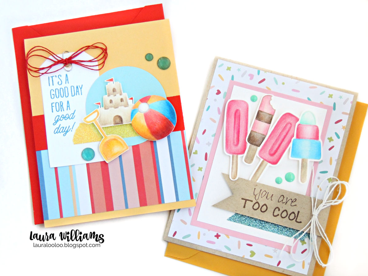 Two summertime  handmade cards, with stamped images of popsicles, and beach toys, colored with colored pencils