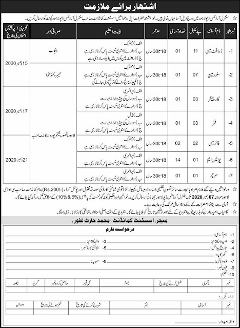 Pak Army Central Ordnance Depot COD Lahore Jobs 2020