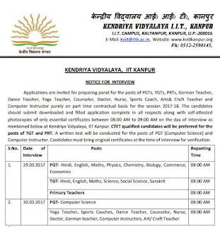 Kendriya Vidyalaya IIT kanpur Recruitment 2017