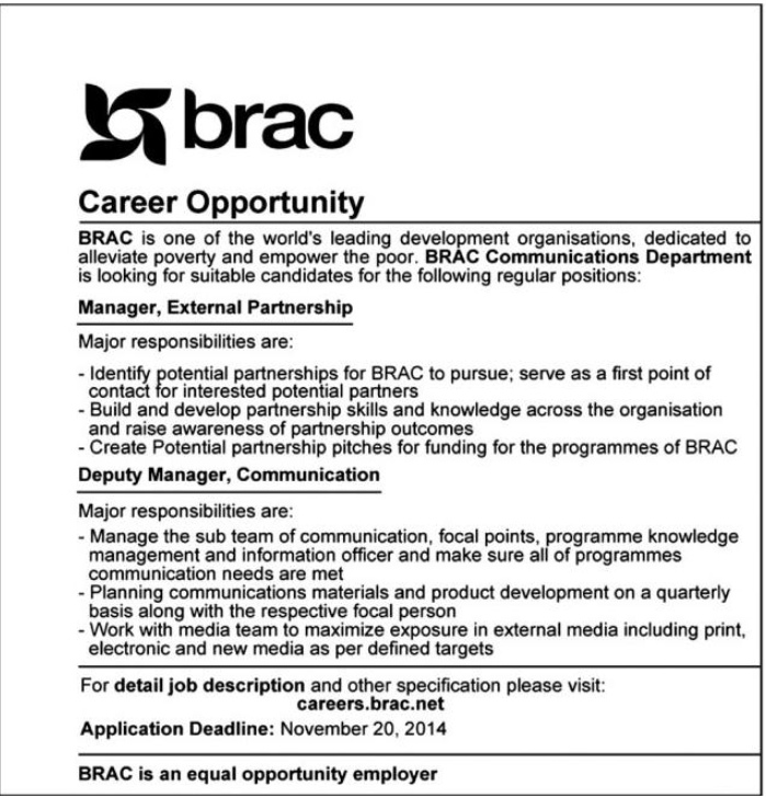 Career Opportunity at BRAC