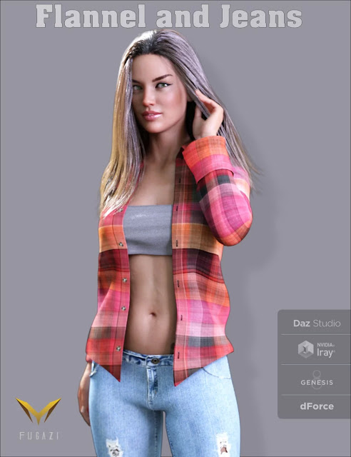 FGF Flannel and Jeans Outfit for Genesis 8 Female