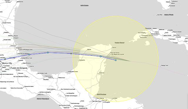 Ojo de Grace, como tormenta tropical, pasará a 62 km al sur de Mérida