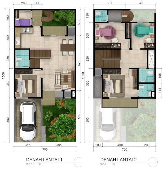 Denah rumah minimalis ukuran 7x15 meter 5 kamar tidur 2 lantai