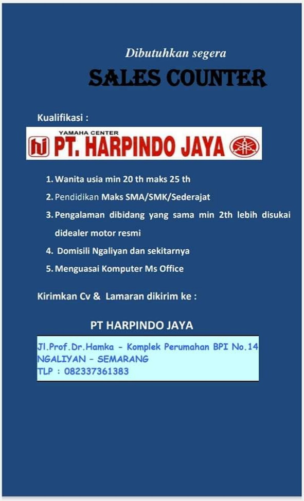 Lowongan Sales Counter PT Harpindo Jaya Semarang