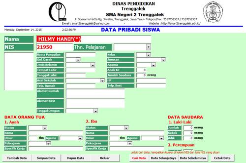 Tampilan data pribadi Siswa