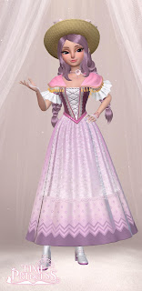 Sissi in a pink and purple riding dress with matching purple hair