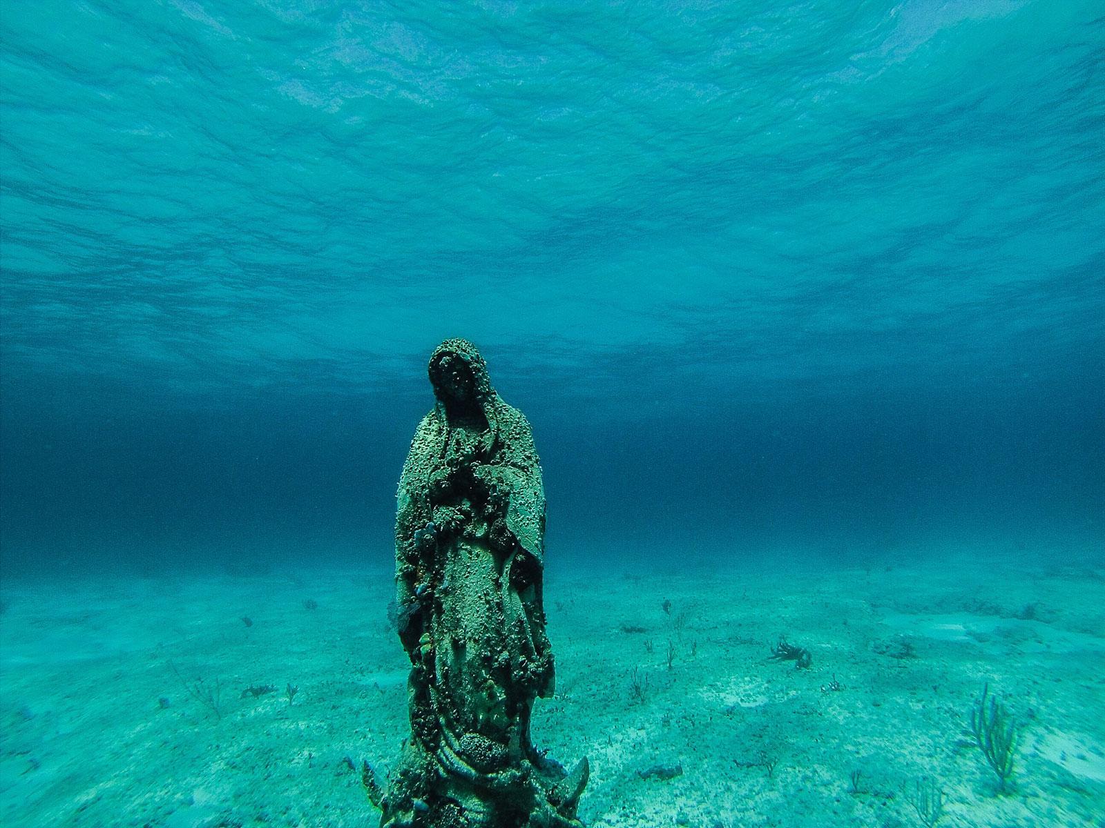 Жемчужная ферма Косумеля. Cтатуя Девы де Гуадалупе