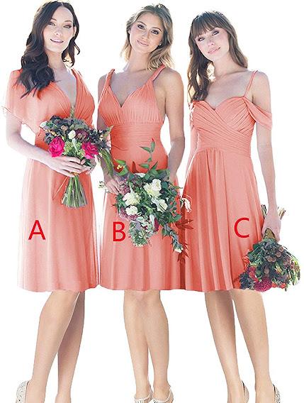 Charming Coral Chiffon Bridesmaid Dresses