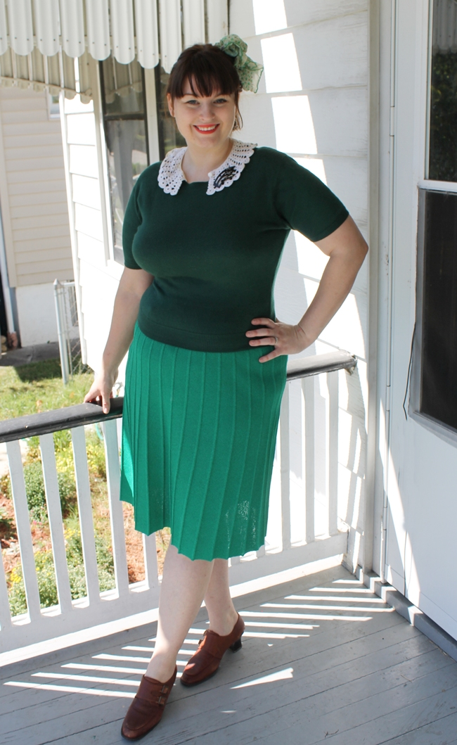 1930-40s style knit outfit with crochet collar and art deco celluloid brooch
