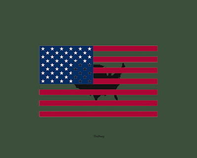 Symbolism Military Man Green Flag Maps USA of the United States of America