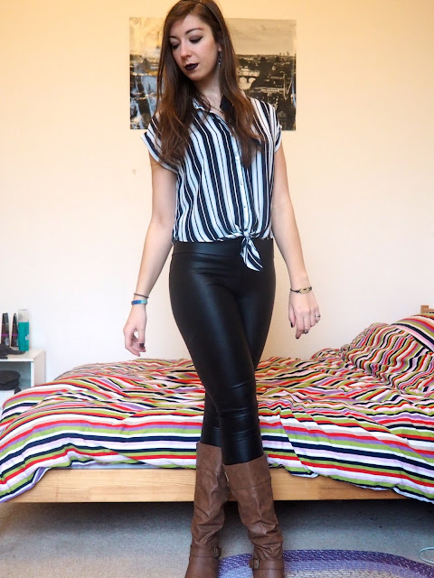 Drink Up Me Hearties - Jack Sparrow Disneybound outfit of striped blouse, black leather leggings, brown knee high boots