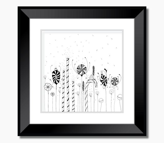Garden of Candy Flowers Art Illustration