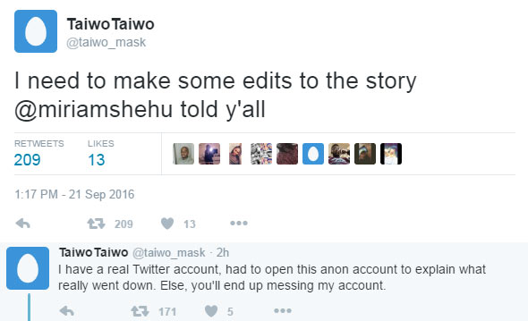 See how Taiwo, guy accused of duping girlfriend & marrying secretly, replied