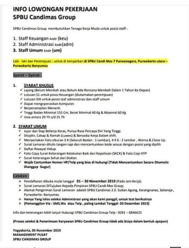 Info Lowongan Kerja Spbu Stasiun Pengisian Bahan Bakar Umum Candimas Group Purwokerto Loker Purwokerto