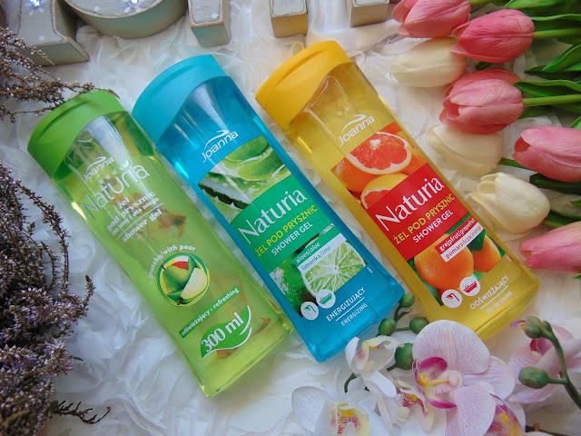 Joanna - Naturia - Owocowe żele pod prysznic o zapachu gruszki, wiśni, banana, limonki i grejpfruta