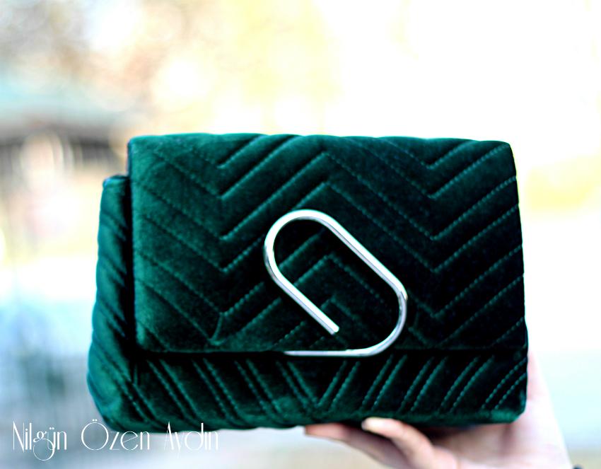 yeşil kadife çanta