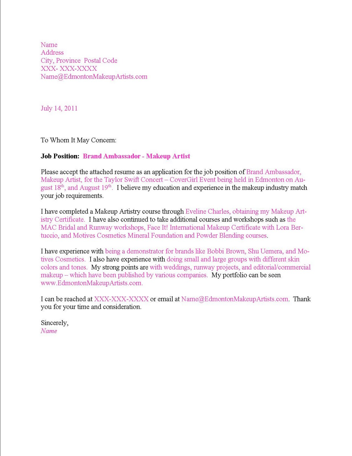 Cover Letter Nanny – Nanny Cover Letter Example