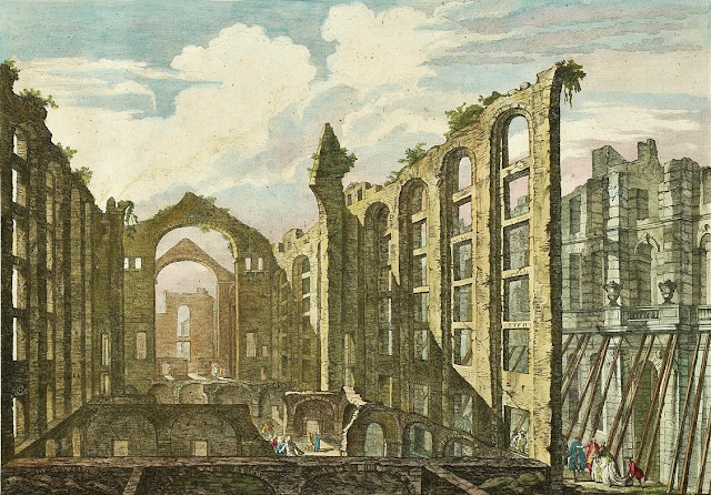 Jacques Philippe Le Bas: Ruins of the Ópera do Tejo after the earthquake of 1755. Painted 1757