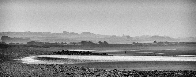 Photo of dog walkers on the beach at Allonby