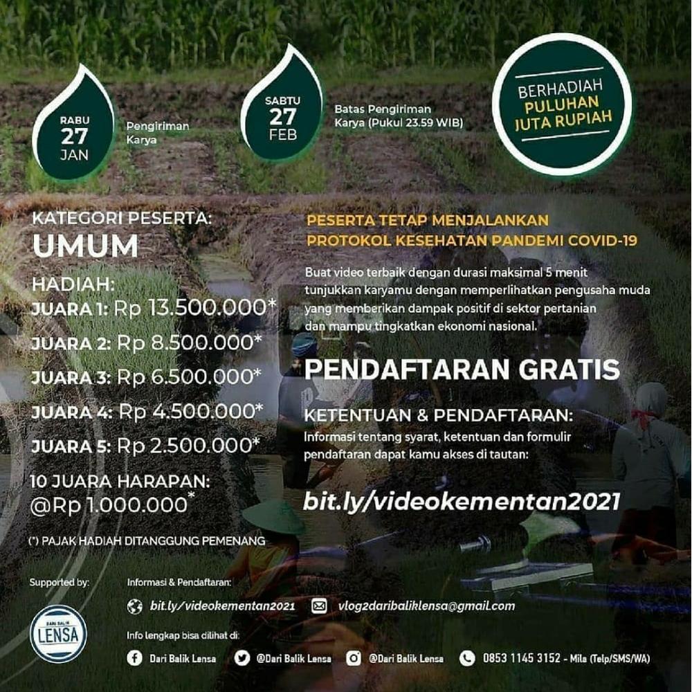 Lomba Video Pendek Nasional Berhadiah Puluhan Juta Rupiah oleh Kementerian Pertanian RI