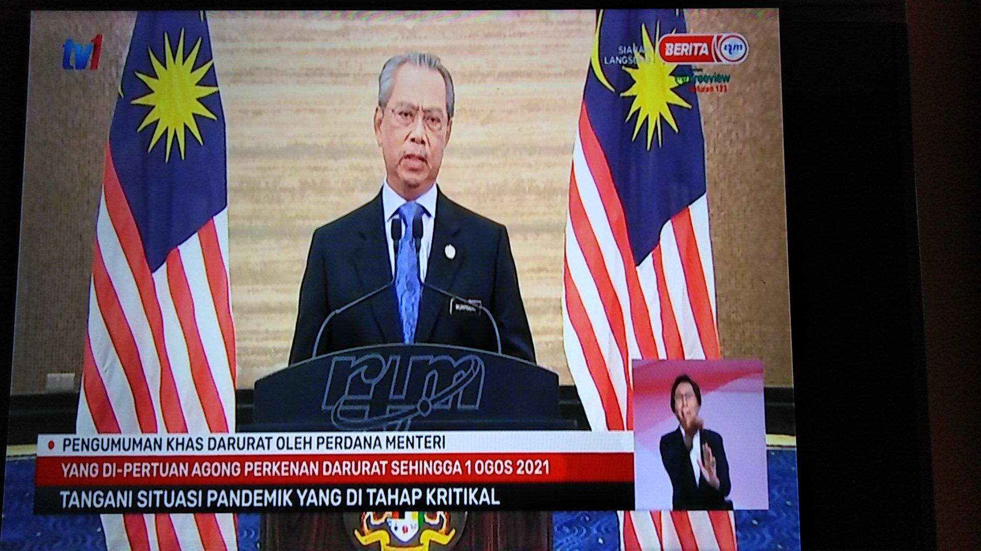 pengumuman khas darurat malaysia perdana menteri