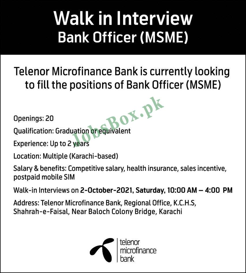 Telenor Microfinance Bank Jobs 2021 – Bank Officer Jobs