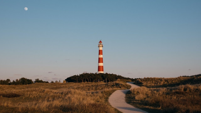 Moon, Lighthouse Tower, Path, Dry Grass