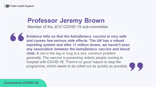 JCVI Pref Jeremy Brown response to pausing of AZ vaccine in some nations