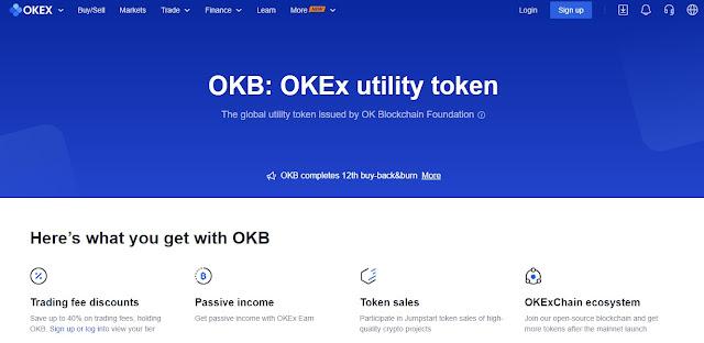 Screenshot Halaman Website OKB (OKB) atau OKEx