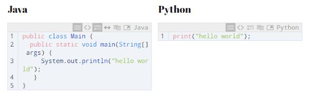 java vs python Syntax
