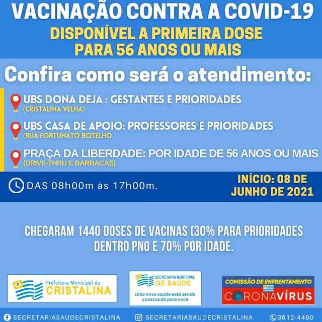 Pessoas com 56 anos ou mais podem tomar vacina covid em Cristalina