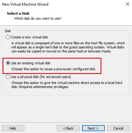 Use an existing virtual disk
