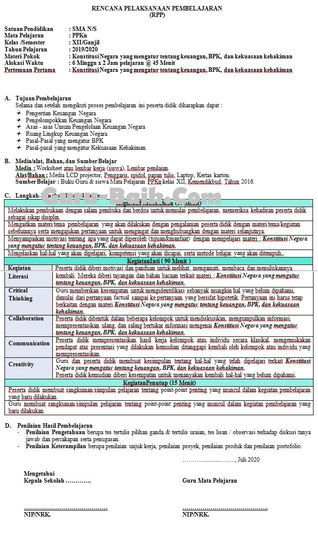 contoh RPP 1 Lembar PPkn SMA Kelas XII TAhun 2021/2022
