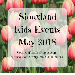 "pink tulips growing in a field, while text in front reads ""Siouxland Kids Events May 2018"""